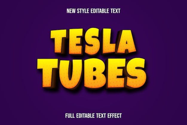 Text effect 3d tesla tubes color yellow and brown gradient