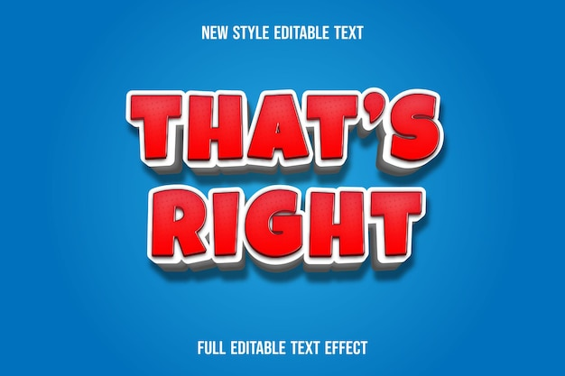Text effect 3d that's right color red and white gradient