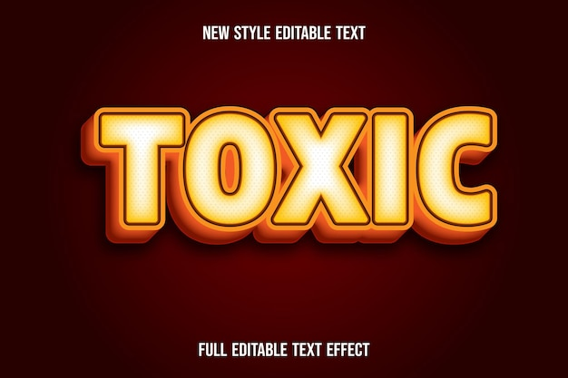 Text effect 3d toxic color yellow and orange gradient