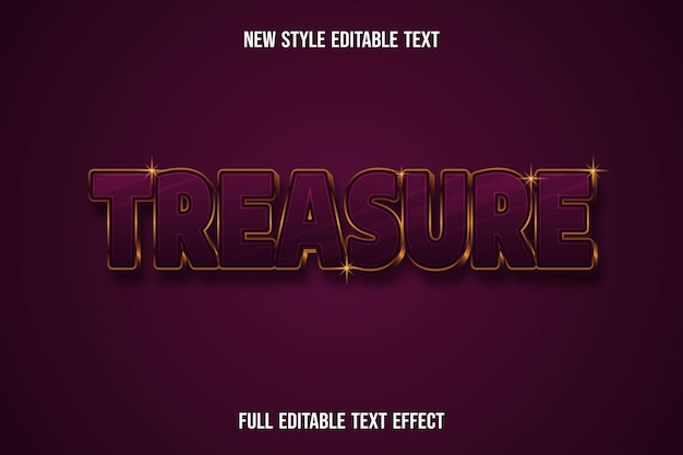 Text effect 3d treasure color dark red and gold