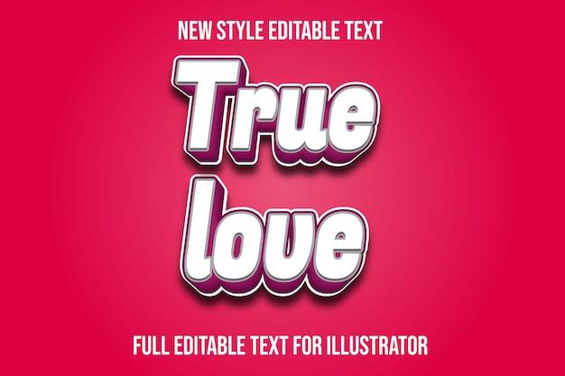 텍스트 효과 3d 진정한 사랑 색상 회색 및 분홍색 그라디언트