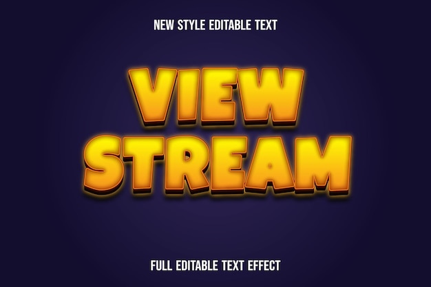 Text effect 3d view stream color yellow and brown gradient