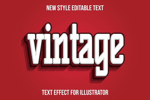 Text effect 3d vintage color white and red gradient