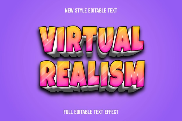 Text effect 3d virtual realism color green and yellow gradient
