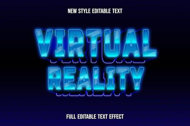 Текстовый эффект 3d виртуальной реальности цвет синий и черный градиент