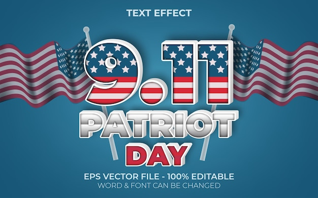 Text effect 911 patriot day style editable text effect