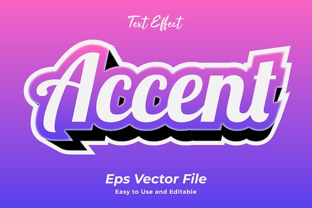 Text effect accent editable and easy to use premium vector