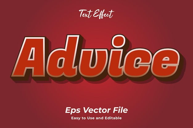Text effect advice easy to use and editable premium vector