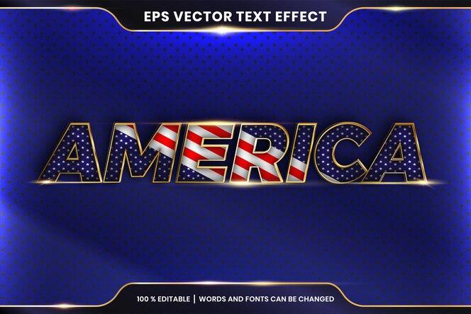 Effetto testo in parole america, concetto di colore oro metallo modificabile tema effetto testo