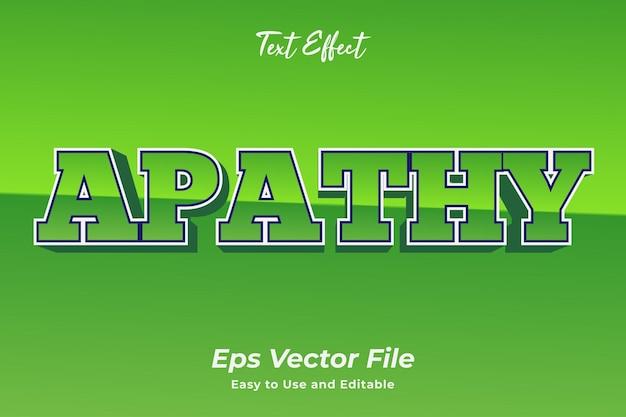 Текстовый эффект апатия редактируемый и простой в использовании премиум векторы