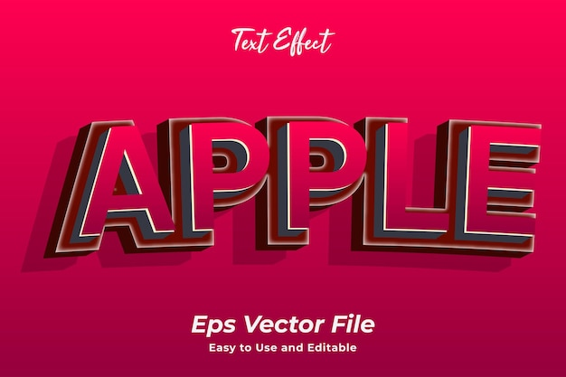 Text effect apple easy to use and editable premium vector