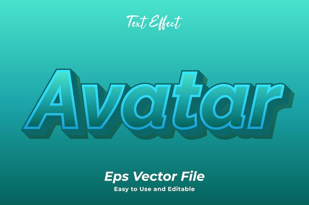 Text effect avatar editable and easy to use premium vector