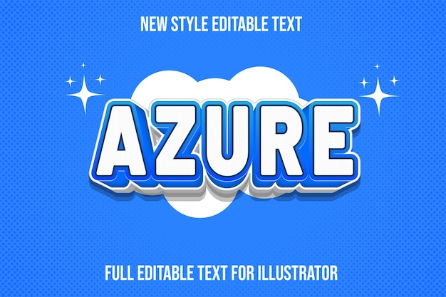 Text effect azure color white and blue gradient