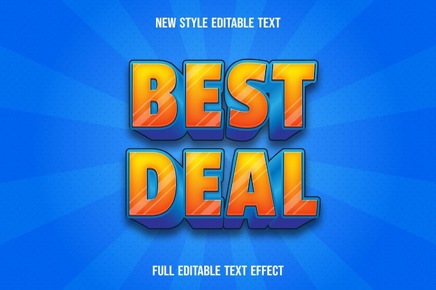 Text effect best deal with color orange and blue gradient