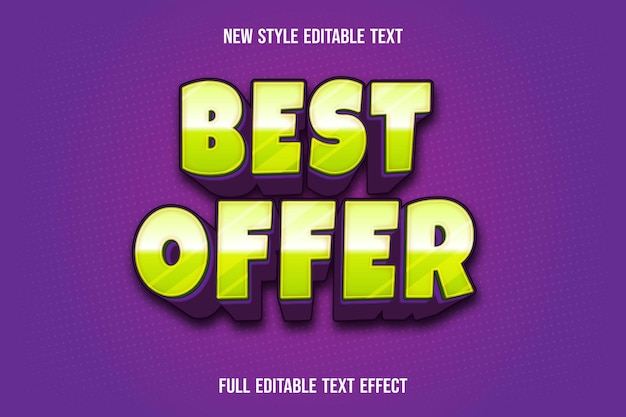Text effect  best offer color green and purple Premium Vector