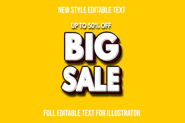 Text effect  big sale color white and dark red gradient