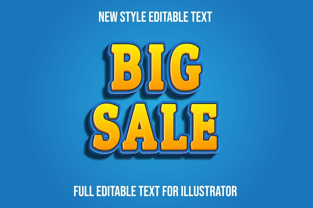 Text effect  big sale color yellow and blue gradient