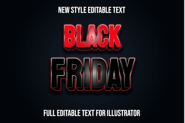 Text effect black friday color black and red gradient