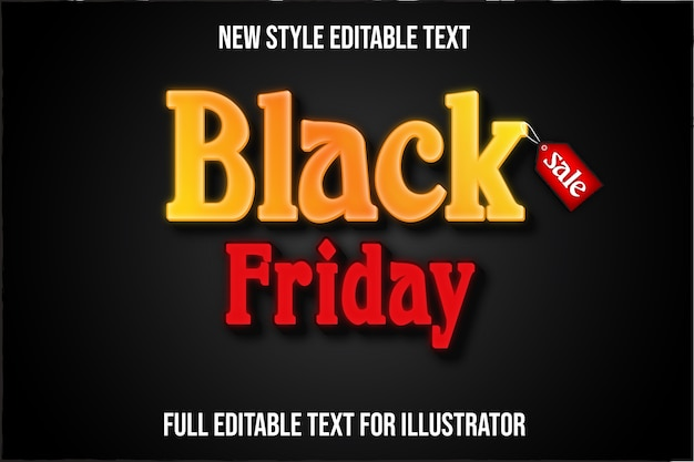 Text effect  black friday color yellow and red gradient