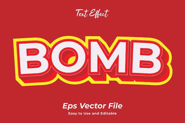 텍스트 효과 폭탄 편집 가능하고 사용하기 쉬운 프리미엄 벡터