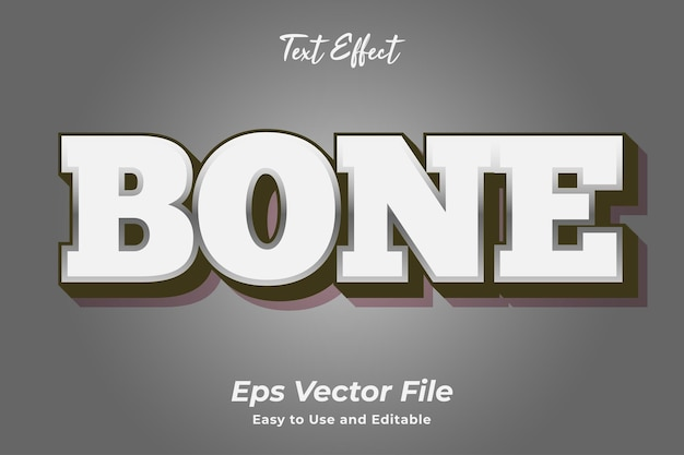 Text effect bone editable and easy to use premium vector