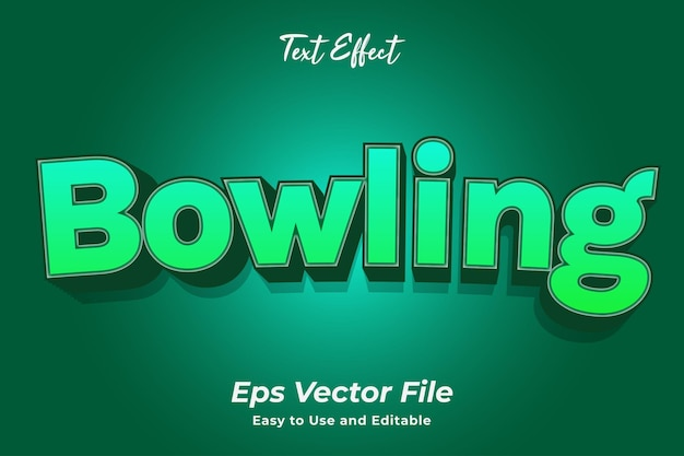 Text effect bowling editable and easy to use premium vector