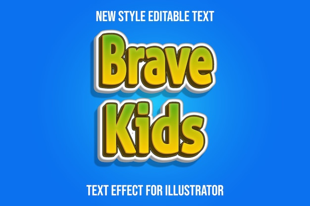 Text effect  brave kids color green,yellow and white gradient