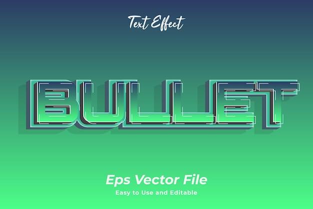 Текстовый эффект пуля редактируемый и простой в использовании премиум векторы