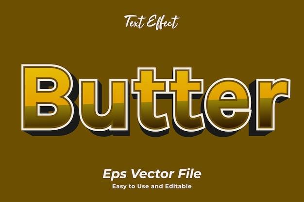 텍스트 효과 버터 편집 가능하고 사용하기 쉬운 프리미엄 벡터