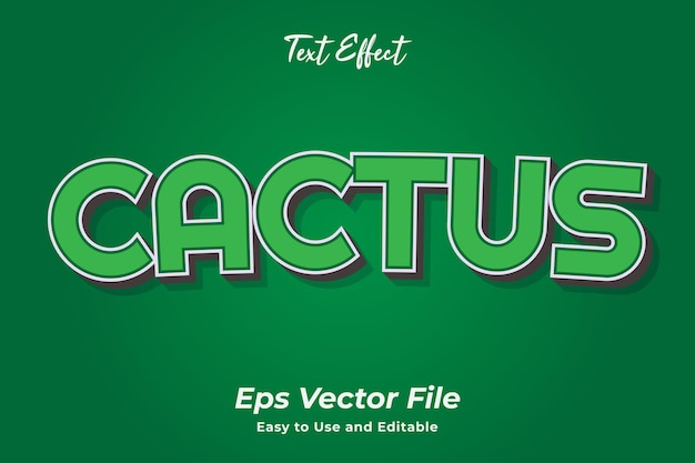 Text effect cactus editable and easy to use premium vector