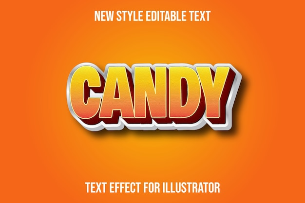 Text effect  candy color orange and white gradient
