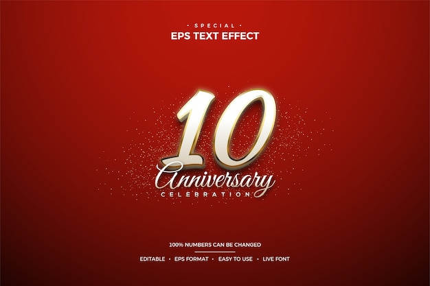 Text effect celebrating the 10th anniversary with luxurious and elegant white gold-plated numbers Premium Vector