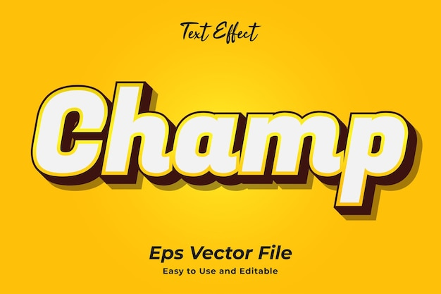 Text effect champ editable and easy to use premium vector
