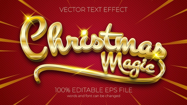 Text effect of christmas magic vector illustration