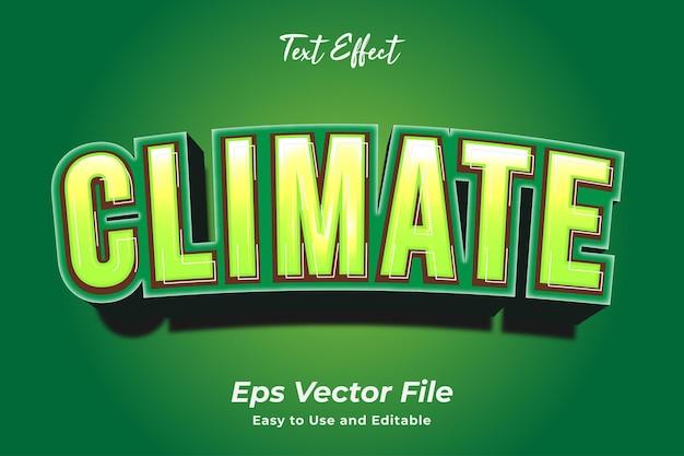 Текстовый эффект климат редактируемый и простой в использовании премиум векторы