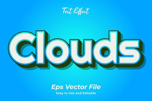 텍스트 효과 구름 편집 가능하고 사용하기 쉬운 프리미엄 벡터