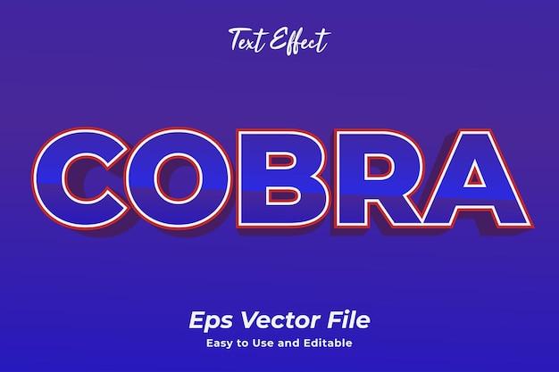 텍스트 효과 코브라 편집 가능하고 사용하기 쉬운 프리미엄 벡터
