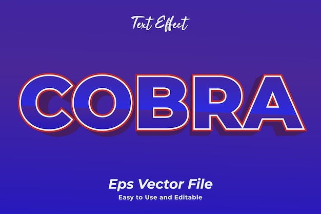 Text effect cobra editable and easy to use premium vector
