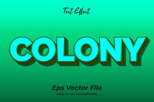 Текстовый эффект колонии редактируемый и простой в использовании премиум векторы