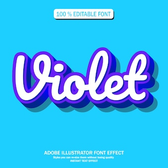 Text effect for cool futuristic with violet color