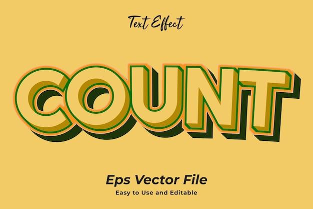 텍스트 효과 카운트 편집 가능하고 사용하기 쉬운 프리미엄 벡터