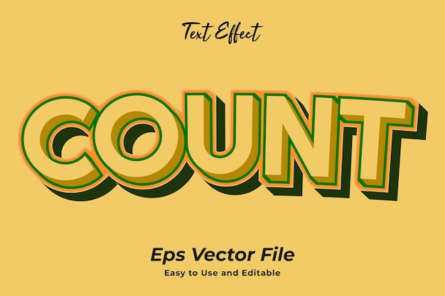 Text effect count editable and easy to use premium vector