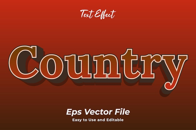 Text effect country editable and easy to use premium vector