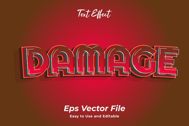 Text effect damage editable and easy to use premium vector