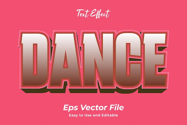 Text effect dance editable and easy to use premium vector