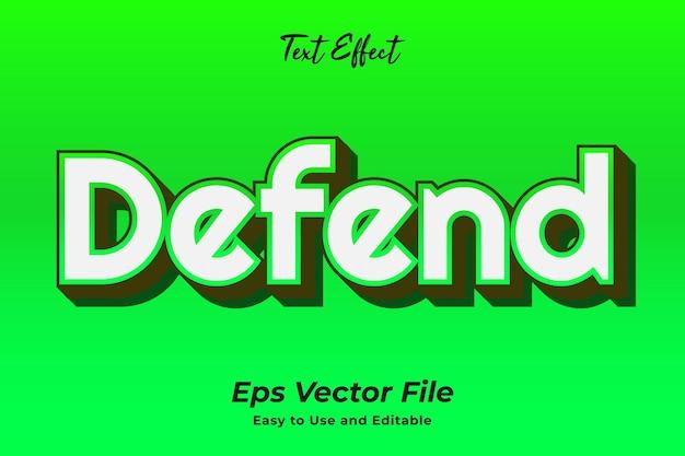 Text effect defend 편집 가능하고 사용하기 쉬운 프리미엄 벡터