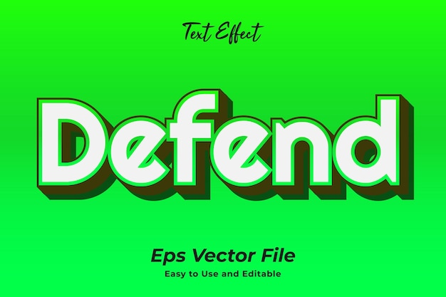 Text effect defend editable and easy to use premium vector