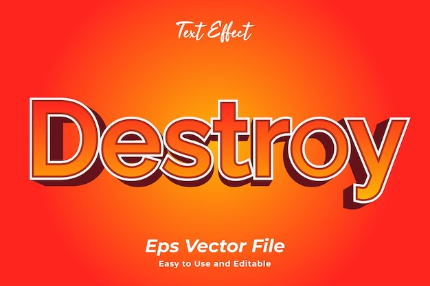 Text effect destroy editable and easy to use premium vector