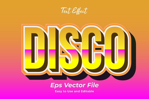 Text effect disco editable and easy to use premium vector