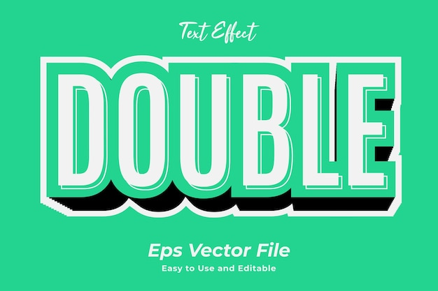 Text effect double editable and easy to use premium vector